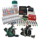 2 Cast Iron Tattoo Machine Kit with LCD Power and 20 Color Ink