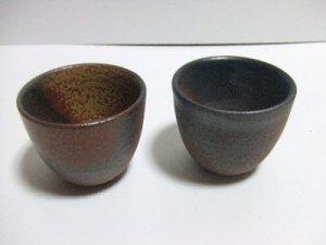 ECHIZEN POTTERY VILLAGE SAKE SAKI CUP A PAIR  SET MADE IN JAPAN