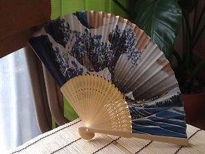 JAPANESE TRADITIONAL BAMBOO�FAN WITH PAPER UKIYOE CONCEPT SENSU