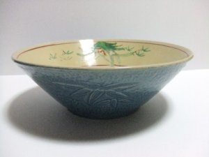 VINTAGE SETO WARE  KASHIKI  BIG BOWL JAPANESE POTTERY ANTIQUE