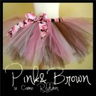 PINK & BROWN w CAMO BOW | TODDLER girls BOWS 'n BLING tutu