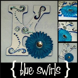 Swirly Blues | Custom Wooden Letters with Name