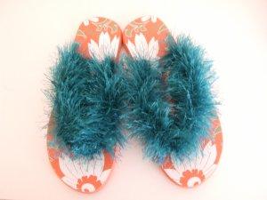 Orange Flower Flip Flops