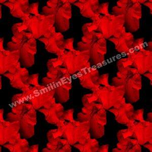 Red Hot Irises Tiled Pattern Floral Background Digital File