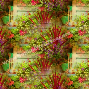 Flower Garden Art Tiled Pattern Floral Background Digital File