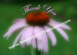 Soft Pink Coneflower Floral Printable Thank You Card