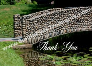 Stone Bridge Lilypads Nature Printable Thank You Card