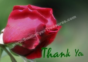 Bending Red Rosebud Flower Printable Thank You Card