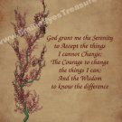 Serenity Prayer Flowering Tree Inspirational Printable Digital File Card