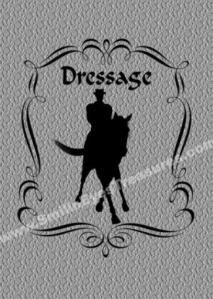Dressage Horse Rider Silhouette Printable Digital File Card