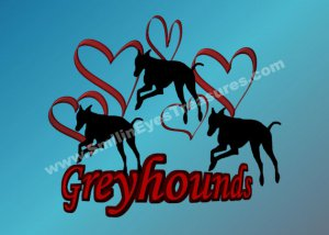 Greyhound And Hearts Silhouette Printable Digital File Card