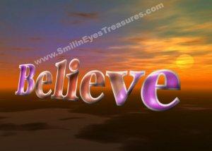Believe Fantasy Sky Inspirational Printable Digital File Card