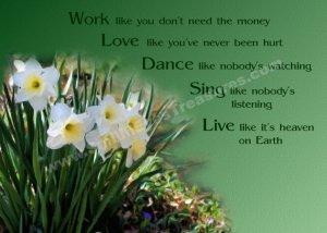 Work Love Live Daffodils Inspirational Printable Digital File Card