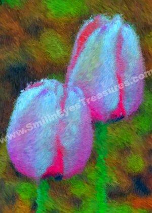 Pink Tulip Flowers Digital Printable Photo Painting 5x7