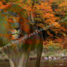 Fantasy Lion In Autumn Digital Printable Animal Photo 5x7