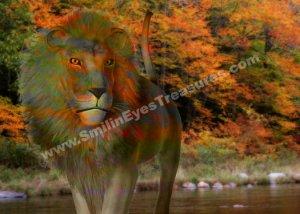 Fantasy Lion In Autumn Digital Printable Animal Photo 5x7