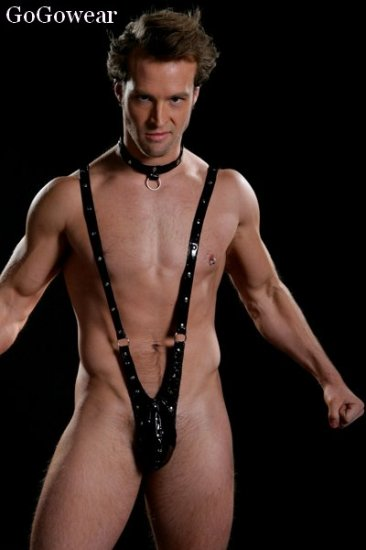 *HOT item* Men's Sexy Vinyl Bodysuit thong (8002)                               Free Shipping!