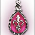 Engraved Pet ID Tag Charm Pink Fleur de Lis Dog Cat FREE SHIPPING
