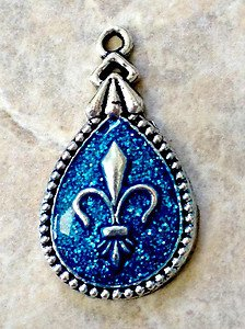 Engraved Pet ID Tag Charm Blue Glitter Fleur de Lis Dog Cat FREE SHIPPING