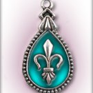 Engraved Pet ID Tag Charm Aqua Blue Fleur de Lis Dog Cat FREE SHIPPING