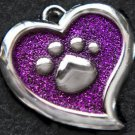 FREE SHIP Large Purple Paw Heart Pet ID Identification Charm Tag Cat Dog Collar