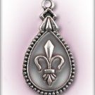 Engraved Pet ID Tag Charm Silver Fleur de Lis Dog Cat FREE SHIPPING