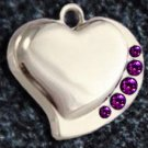 FREE SHIP Purple Crystal Heart Pet ID Identification Charm Tag Cat Dog Collar