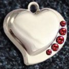 FREE SHIPPING Ruby Crystal Heart Pet ID Identification Charm Tag Cat Dog Collar