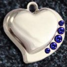 FREE SHIPPING Blue Crystal Heart Pet ID Identification Charm Tag Cat Dog Collar