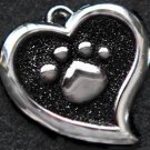 FREE SHIP Large Black Paw Heart Pet ID Identification Charm Tag Cat Dog Collar