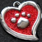 FREE SHIP Large Red Paw Heart Pet ID Identification Charm Tag Cat Dog Collar