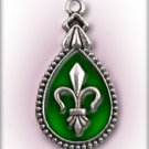 Engraved Pet ID Tag Charm Green Fleur de Lis Dog Cat FREE SHIPPING