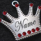 Engraved Pet Tag Charm Cat Dog Identification Lrg Crown Red FREE SHIPPING!