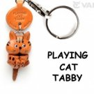 Tabby Cat Playing Handmade Leather Cat Keychain *VANCA* Made in Japan #56401