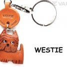 Westie Leather Dog Animal Keychain *VANCA* Keyring/Charm Made in Japan #56765