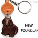 Newfoundland Handmade Leather Dog/Animals Keychain *VANCA* Made in Japan #56743