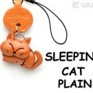 Plain Cat Sleeping Leather Mobile/Cell Phone Charm *VANCA* Made in Japan #46414