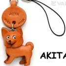 Akita Handmade Leather Dog cell/mobile phone charm*VANCA*Made in Japan  #46778