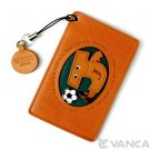 Soccer J Handmade Alphabet Leather Commuter ID Pass Card Holder *VANCA * #26481