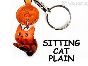 Plain Cat Sitting Handmade Leather Keychain/Pendant *VANCA* Made in Japan #56413