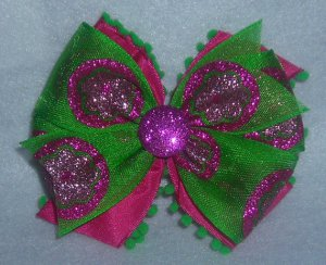 Fuschia and Green Fuzzy Bow