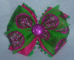 Fuschia and Green Fuzzy Bow