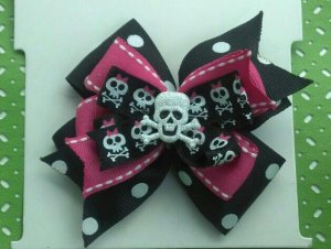 Pink and Black Skull and Crossbones Bow