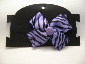 Purple and Black Bow Headband