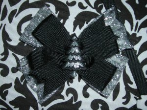Black and Silver Christmas Tree Bow