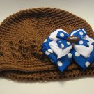 Brown Crochet Hat with Football Ribbon (Baby)
