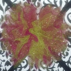 Pink and Green Tulle Hair Clip