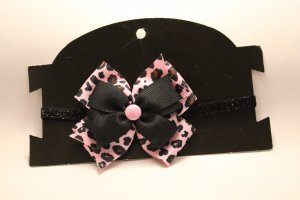Pink and Black Leopard Bow Headband