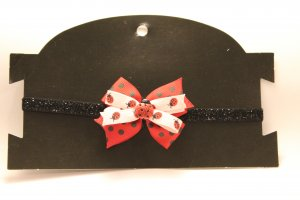 Pink and Red Ladybug Bow Headband