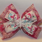 Pink and White Snowman Bow
